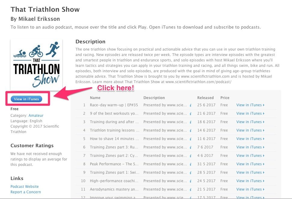 How to rate That Triathlon Show on iTunes