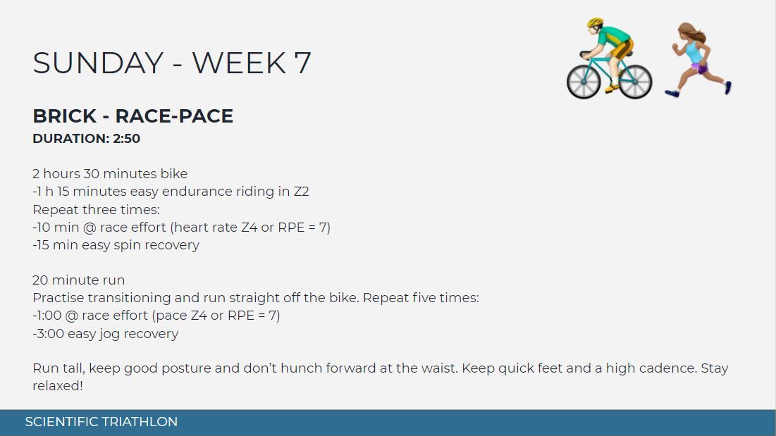 sprint triathlon training plan intermediate 12 week - sunday week 7 - brick
