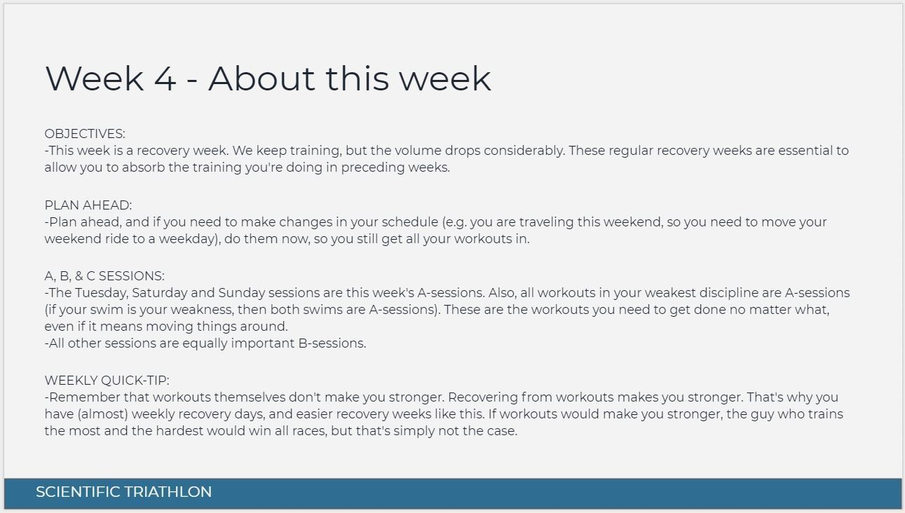 Intermediate Olympic triathlon training plan - About this week screenshot