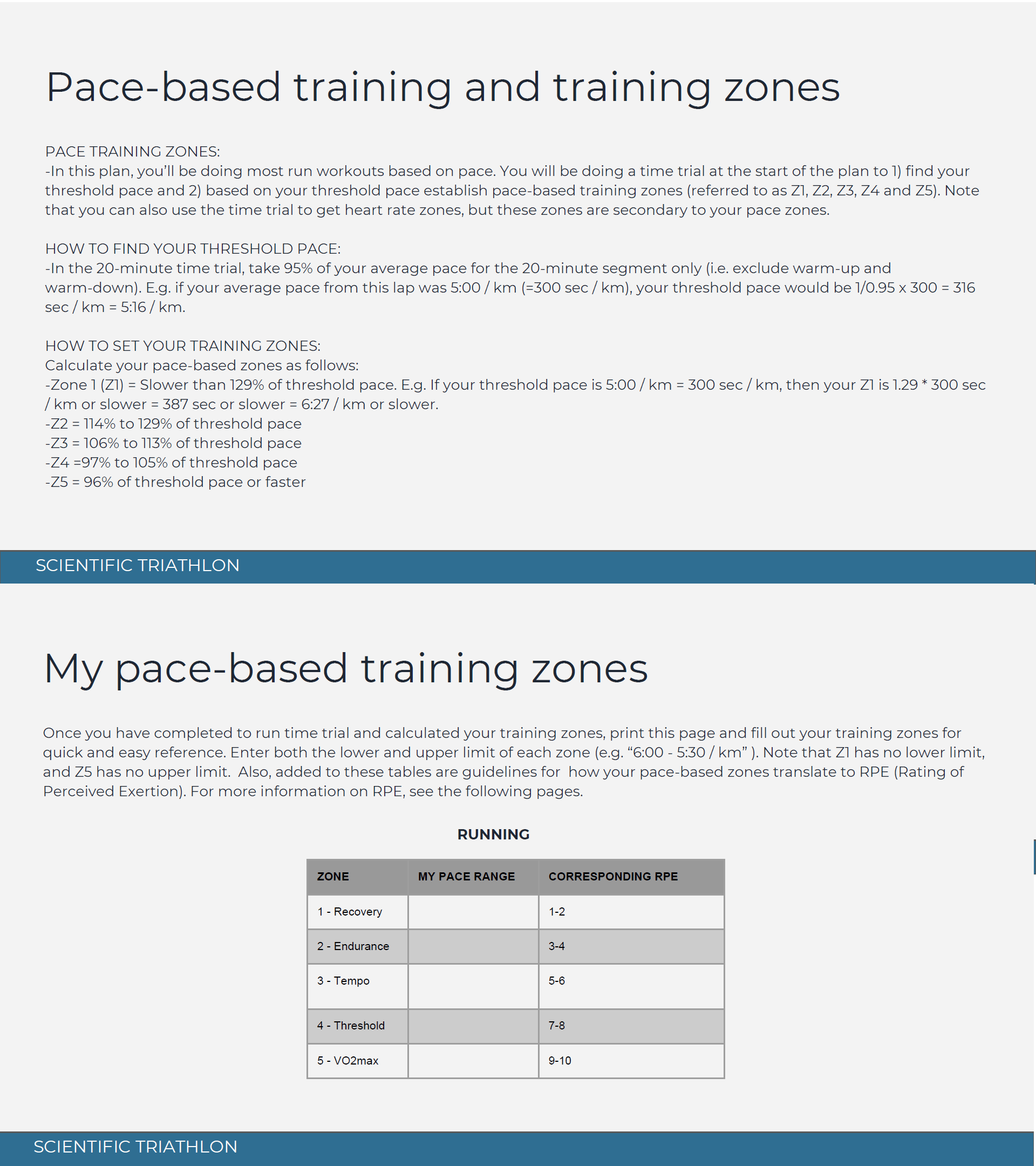 Triathlon Training Plan example - training zones