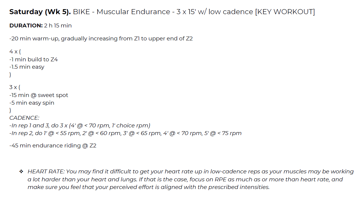 Intermediate 70.3 Training Plan Workout Example
